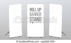 Roll Up Banner Stand Vector Pop Up Flipchart For Training Flag Design Layout Poster For Conference Empty Mock Up