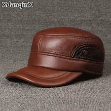 polyester leather xdanqinx cowhide leather hat mens flat cap genuine leather hats brands baseball caps