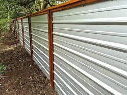 diy corrugated metal fence corrugated metal fence a galvanized corrugated metal fence creates a clean modern diy corrugated metal fence