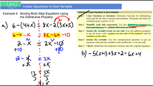 section 2 1 exampole 4 solving multi step equations using the distributive property