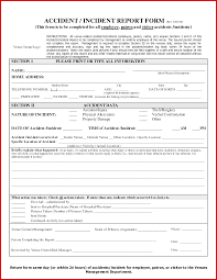 Form For Accident Incident Report Beautiful Accident Incident Report Template Wing Scuisine