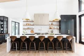 White and Black KItchen Island with Cherner Counter Stools