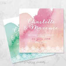 Faire Part Mariage Aquarelle Dentelle Happy Chantilly Studio