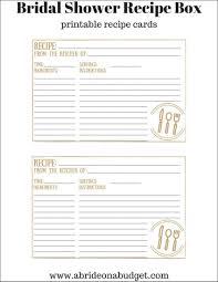 Recipe Cards Print How To Make A Bridal Shower Recipe Box Plus Free Recipe Card