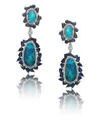 high end art deco opal sapphire diamond chandelier earrings