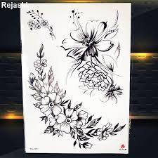 черный браслет цветочные временные татуировки женские наклейки на грудь девушки