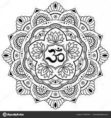 индийские символы тату круговой узор в виде мандалы Om