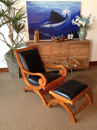 chic teak furniture. Waxed Teak And Leather Bahama Lazy Chair With Ottoman - Chic Furniture