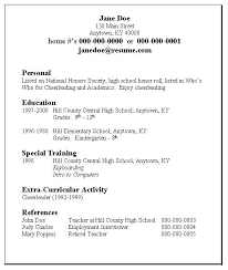 Simple High School Resume Examples Basic Resume Templates For Students High School Resume