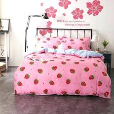 white duvet covers sets twin cover set girls princess bedding pink strawberry plaid flat canada