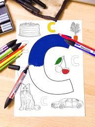 Printable Coloring Page C Alphabet Letter Pdf Instant Etsy