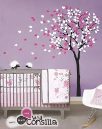 tree in the wind with hedgehogs wall decal baby room wall decor