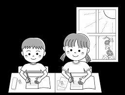 子供の夏2人で勉強 無料イラスト素材素材ラボ