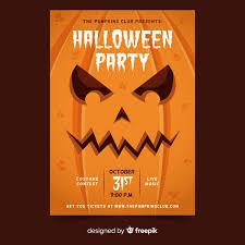 Costume Contest Flyer Template Close Up Pumpkin Face Halloween Party Flyer Template Vector