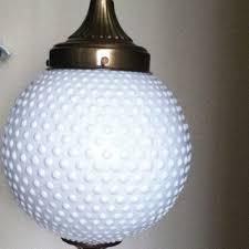 vintage white milk glass hobnail globe hanging light fixture lamp retro lighting milk glass lighting