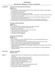 Security Resume Sample Stunning Security Receptionist Resume Samples Velvet Jobs