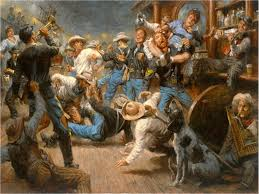 fight at the watering hole by andy thomas cowboys old west saloon