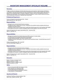 Sample Management Specialist Resume Sample Inventory Management Specialist Resume