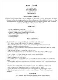 Dishwasher Resume Samples 1 Dishwasher Resume Templates Try Them Now Myperfectresume