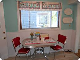 ace handmade fabric over valance with square stainless steel breakfast table for 2 with red chairs as inspiring open vintage kitchen plans decorating ideas