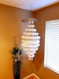 extra large capiz shell chandelier light chrome silver frame