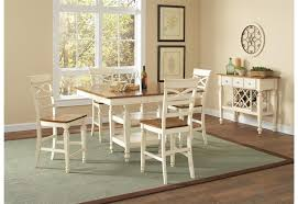 white counter height table. Ashley 5 Piece Counter Height Dining Set In Two Tone White And Oak Finish By Coaster - 104008 Table