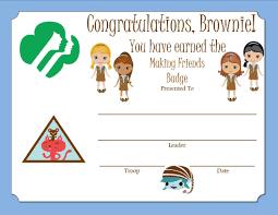 Making A Certificate Brownie Making Friends Badge Certificate Brownie Girl Scouts