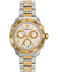 shop men s versace watches from 590 lyst versace 44mm men s dylos two tone chronograph watch lyst