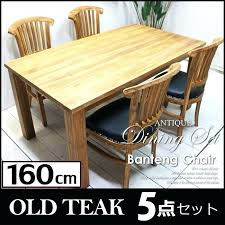 old teak dining table 5 point set leather four chairs and furniture