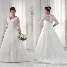 discount modest plus size wedding dresses sleeves v neckline court
