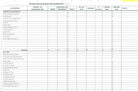 Home Construction Estimator Excel Job Cost Sheet Template Excel Best Of Free Construction