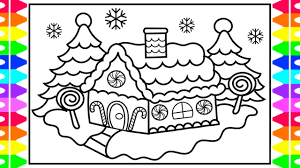 Christmas Coloring How To Draw And Color A Gingerbread House Kids