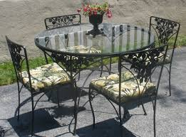 Cool Black Color Wrought Iron Kitchen Table Set With Black Color