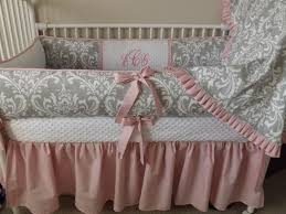 Pink and GRay damask Baby bedding Crib set DEPOSIT Down payment ...