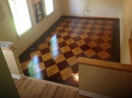 stained plywood floor