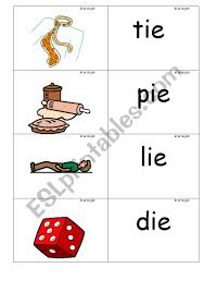 Illustrated and with a list of words to complete the sentences. Word Picture Cards That Contains Ie Phonics Esl Worksheet By Jenniferoz69