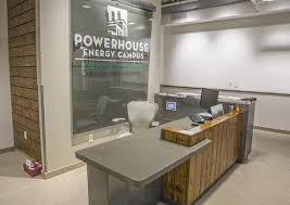 reception counter made from precast concrete compliments the powerhouse energy campus