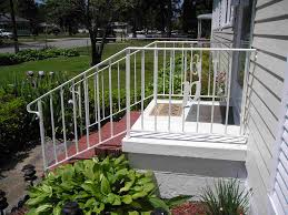... Wonderful Metal Handrails For Outside Steps Outdoor Wrought Iron Stair  Railing White Straight Metal ...