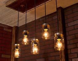 etsy lighting. Mason Jar Lights With Reclaimed Wood And 5 Pendants. R-1434-CMJ- Etsy Lighting T