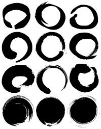 無料墨絵イラスト毛筆書体の丸型円形フレーム飾り枠線ベクターai
