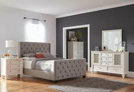 Details about NEW Traditional White Wood and Gray Fabric Bedroom Furniture - 5pcs King Set L73