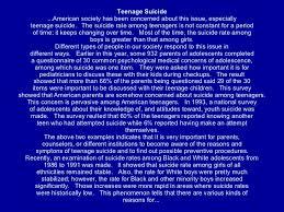 teenage life teenage suicide