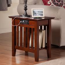 details wood end table usb charging station