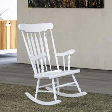 Image Cracker Barrel Aosomcom Homcom Wooden Baby Nursery Rocking Chair White
