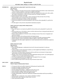Download First Line Manager Resume Sample as Image file