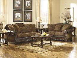 Traditional Style Living Room Furniture Ashley Fresco Antique Durablend And Fabric 2 Pc Sofa With Loveseat Set