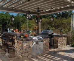 Outdoor Kitchen Lighting Kitchen Amazing Outdoor Kitchen Ideas With Beige Engineered