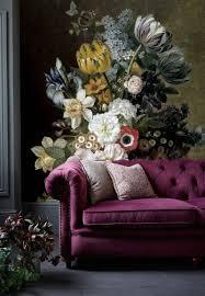 Zelfklevend Behang Bloemen Zwart Vintage Geel 250x250cm Tapetshow