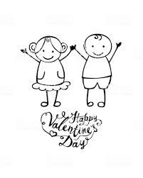幸せなバレンタインデーベクター手書きの男の子と女の子 2人のベクター