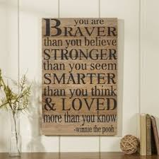 inspirational signs for office. \u0027You Are Braver Than You Believe \u2026\u0027 Textual Art On Wood Inspirational Signs For Office